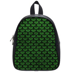 Scales3 Black Marble & Green Leather (r) School Bag (small)