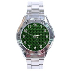 Scales3 Black Marble & Green Leather (r) Stainless Steel Analogue Watch