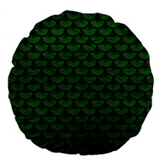 Scales3 Black Marble & Green Leather (r) Large 18  Premium Round Cushions
