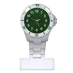Scales3 Black Marble & Green Leather (r) Plastic Nurses Watch