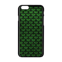 Scales3 Black Marble & Green Leather (r) Apple Iphone 6/6s Black Enamel Case
