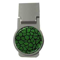 Skin1 Black Marble & Green Leather Money Clips (round)