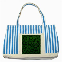 Skin1 Black Marble & Green Leather Striped Blue Tote Bag