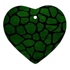 Skin1 Black Marble & Green Leather Heart Ornament (two Sides)