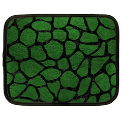 Skin1 Black Marble & Green Leather Netbook Case (large)