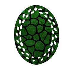Skin1 Black Marble & Green Leather Oval Filigree Ornament (two Sides)