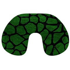 Skin1 Black Marble & Green Leather Travel Neck Pillows