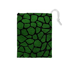 Skin1 Black Marble & Green Leather Drawstring Pouches (medium)
