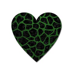 Skin1 Black Marble & Green Leather (r) Heart Magnet