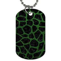 Skin1 Black Marble & Green Leather (r) Dog Tag (one Side)