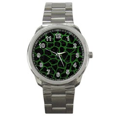 Skin1 Black Marble & Green Leather (r) Sport Metal Watch