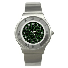 Skin1 Black Marble & Green Leather (r) Stainless Steel Watch
