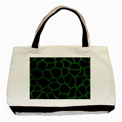 Skin1 Black Marble & Green Leather (r) Basic Tote Bag (two Sides)