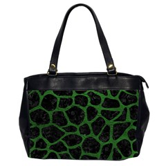Skin1 Black Marble & Green Leather (r) Office Handbags (2 Sides)
