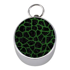 Skin1 Black Marble & Green Leather (r) Mini Silver Compasses