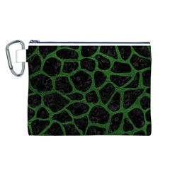 Skin1 Black Marble & Green Leather (r) Canvas Cosmetic Bag (l)