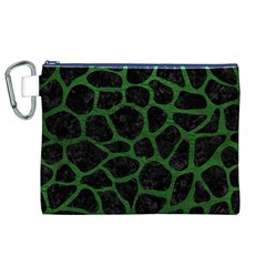 Skin1 Black Marble & Green Leather (r) Canvas Cosmetic Bag (xl)