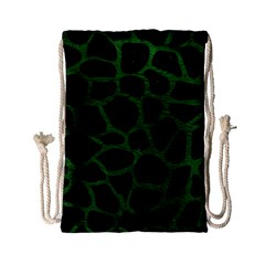 Skin1 Black Marble & Green Leather (r) Drawstring Bag (small)