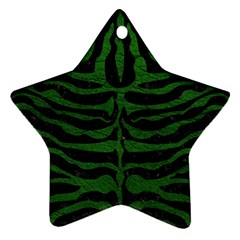 Skin2 Black Marble & Green Leather Ornament (star)