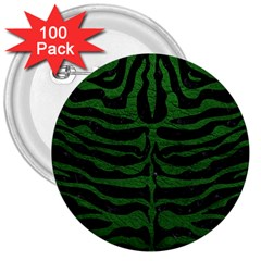 Skin2 Black Marble & Green Leather 3  Buttons (100 Pack)