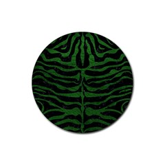 Skin2 Black Marble & Green Leather Rubber Coaster (round)