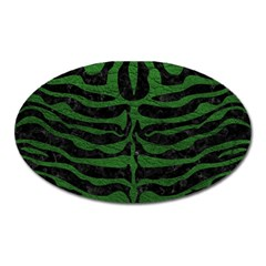Skin2 Black Marble & Green Leather Oval Magnet
