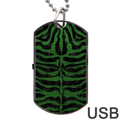 Skin2 Black Marble & Green Leather Dog Tag Usb Flash (one Side)