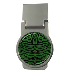 Skin2 Black Marble & Green Leather (r) Money Clips (round)