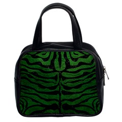 Skin2 Black Marble & Green Leather (r) Classic Handbags (2 Sides)