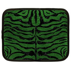 Skin2 Black Marble & Green Leather (r) Netbook Case (xl)