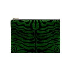 Skin2 Black Marble & Green Leather (r) Cosmetic Bag (medium)