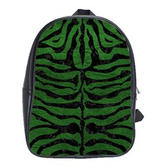 Skin2 Black Marble & Green Leather (r) School Bag (large)