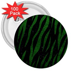 Skin3 Black Marble & Green Leather 3  Buttons (100 Pack)