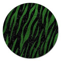 Skin3 Black Marble & Green Leather Magnet 5  (round)