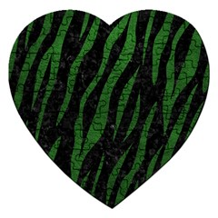 Skin3 Black Marble & Green Leather Jigsaw Puzzle (heart)