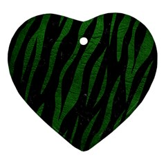 Skin3 Black Marble & Green Leather Heart Ornament (two Sides)