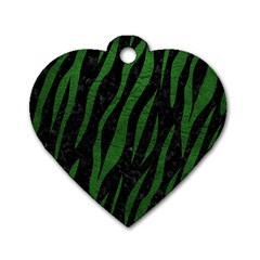 Skin3 Black Marble & Green Leather Dog Tag Heart (two Sides)