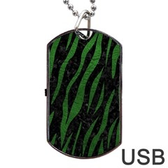 Skin3 Black Marble & Green Leather Dog Tag Usb Flash (one Side)