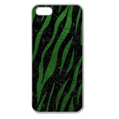 Skin3 Black Marble & Green Leather Apple Seamless Iphone 5 Case (clear)