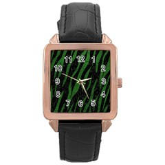Skin3 Black Marble & Green Leather Rose Gold Leather Watch