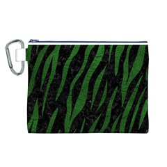 Skin3 Black Marble & Green Leather Canvas Cosmetic Bag (l)