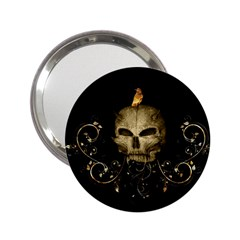 Golden Skull With Crow And Floral Elements 2 25  Handbag Mirrors