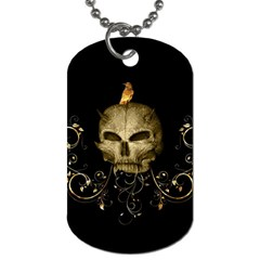 Golden Skull With Crow And Floral Elements Dog Tag (one Side)