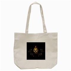 Golden Skull With Crow And Floral Elements Tote Bag (cream)