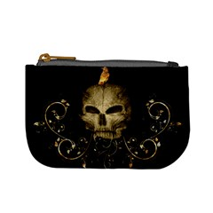 Golden Skull With Crow And Floral Elements Mini Coin Purses