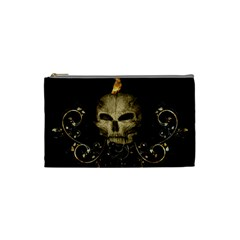 Golden Skull With Crow And Floral Elements Cosmetic Bag (small)