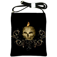 Golden Skull With Crow And Floral Elements Shoulder Sling Bags