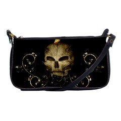 Golden Skull With Crow And Floral Elements Shoulder Clutch Bags