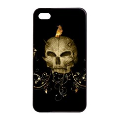 Golden Skull With Crow And Floral Elements Apple Iphone 4/4s Seamless Case (black)