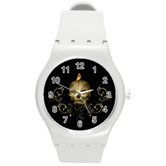 Golden Skull With Crow And Floral Elements Round Plastic Sport Watch (m)